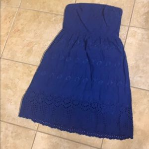 BLUE LACE STRAPLESS DRESS